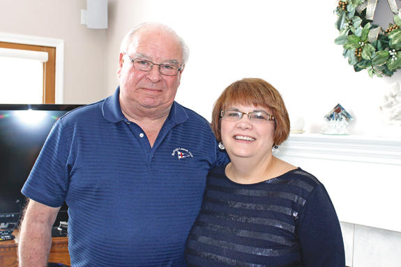 Bob and Karen DeGlopper in their Grand Island home. (Photo by Karen Carr Keefe; click for a larger image)