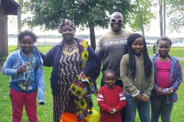 Marie Edonyemya, her husband, Byaombe Shabani, and four of their seven children: Joy, 11, Debora, 9, Dorcas, 7, and Roger, 3. Edonyemya and Shabani participated in the CROP Walk Sunday at Beaver Island State Park. (Photos by Alice Gerard)