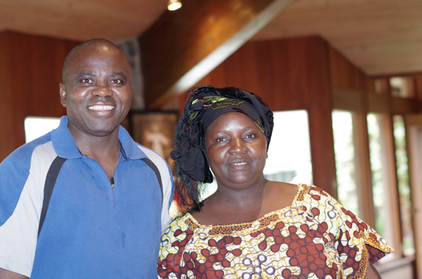 Byaombe Shabani and his wife, Marie Etonyemya, plan to attend the 2015 CROP Walk and demonstrate how they carried water in their native Congo. (Photo by Larry Austin)
