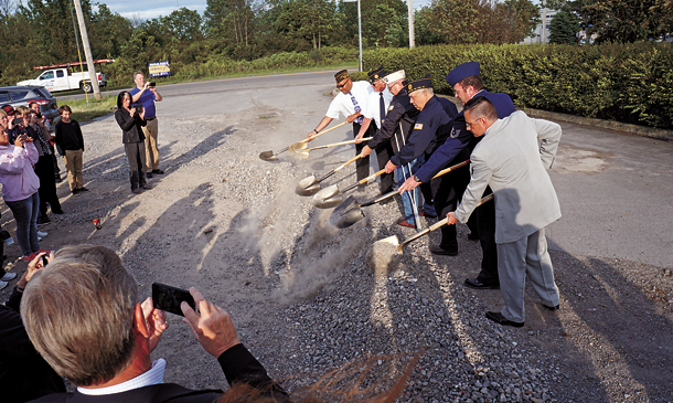 The ceremonial ground-breaking for the DeGlopper Memorial expansion saw the first shovels in the ground June 9 courtesy of, from left, Christian Eshelman, Ray DeGlopper, Alan Lee, Fred Wornick, Dave Castiglia and Erik Anderson. (Photos by Larry Austin)