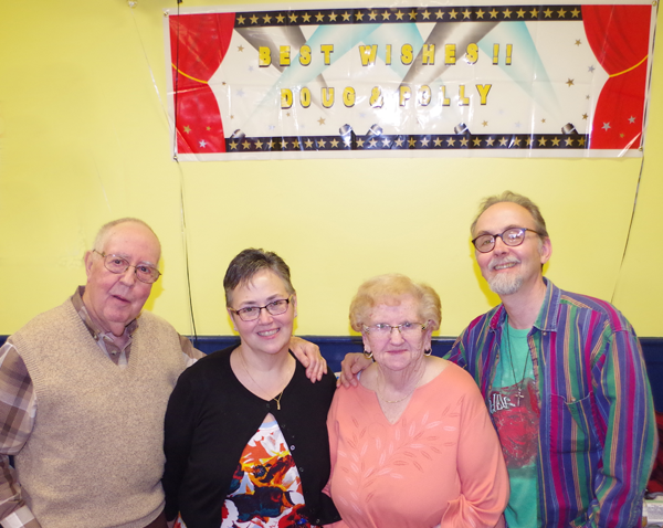 Doug and Polly Smith celebrated with family and friends one last time at Theodore's March 12 before their move to the Cortland area. Pictured: Doug, their daughter Holly Jaquith, Polly, and their son, Joe.