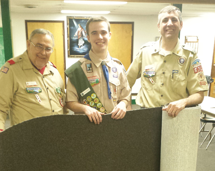 From left, Rev. Sam Venne, Eagle Scout John Sosnowski and Scout Master Scott Swagler of Troop 630. (Photo by Mike Billoni)