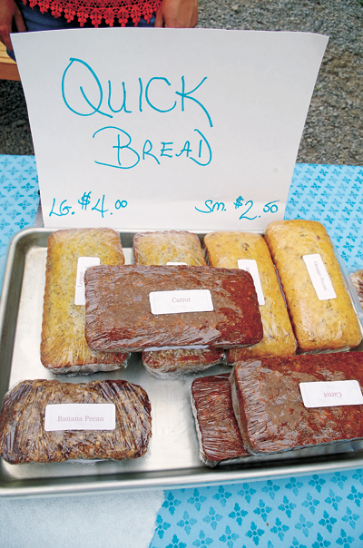 Get quick bread - like carrot, orange pecan and banana pecan - at the market.