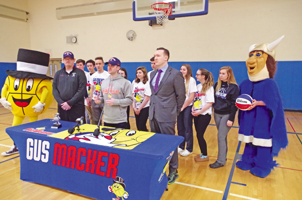 Corey McGowan announced registration has opened for the 2017 Gus Macker 3-on-3 Basketball Tournament, which will take place June 10 and 11. (Photo by Larry Austin)