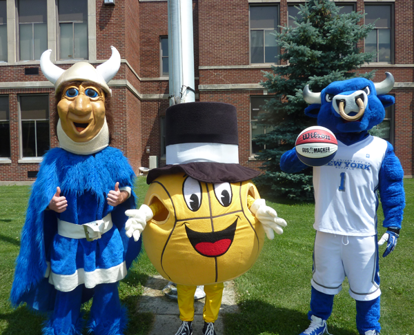 Pictured, the Gus Macker mascot is flanked by the Grand Island Viking mascot, left, and the mascot of the University at Buffalo Bulls. (Photo by Cassidy Siebert)