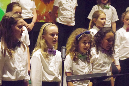 The annual Spring Choral Concert that took place April 27 at Kaegebein Elementary School featured a guest composer, Carolyn Laskay, who wrote a song about Grand Island titled `Our Grand Island.` Her song premiered sung by the new show choir at Kaegebein, Broadway Bound. (Photos by Alice E. Gerard)