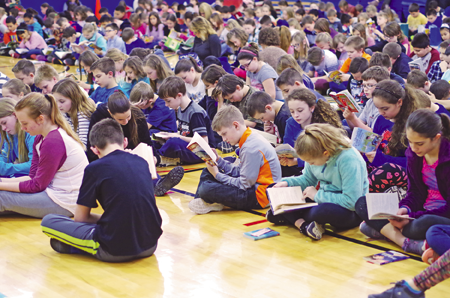 Kaegebein Elementary School children read during a read-a-thon April 7 in support of the GI Challenge, a fundraiser for Children's Hospital, and afterward, the school had a visit from Buffalo Sabres mascot Sabretooth and Buffalo Bills mascot Billy Buffalo.