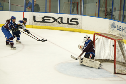 Kenmore/Grand Island's Lina Mirabella rips a shot into the top right corner of the net for a 3-0 lead.
