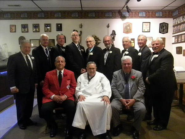 Knights of Columbus Mary Star of the Sea Council No. 4752 held its Past Grand Knight Dinner Oct. 8, honoring all past grand knights. Pictured, from left, sitting: District Deputy Anthony Pirrone; the Rev. Sam Venne, council chaplain; and Grand Knight Sal Schiavone. Standing: Past Grand Knights Rick Gonzalez, Dick Dietrich, Paul Minton, Dave Forester, Jerry Dubiel, Bill Gworek Sr., Wayne Anstett, Tom Kolniak, Tony Peters. (Contributed photo)