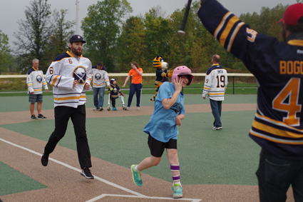 Mike Weber was one of the current Buffalo Sabres who played ball with the Miracle Leaguers in Veterans Park.
