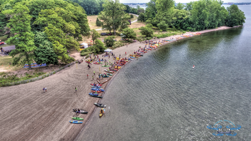 An aerial photo shows the start and finish area of Paddles Up! (Photo by K&D Action Photo and Aerial Imaging)