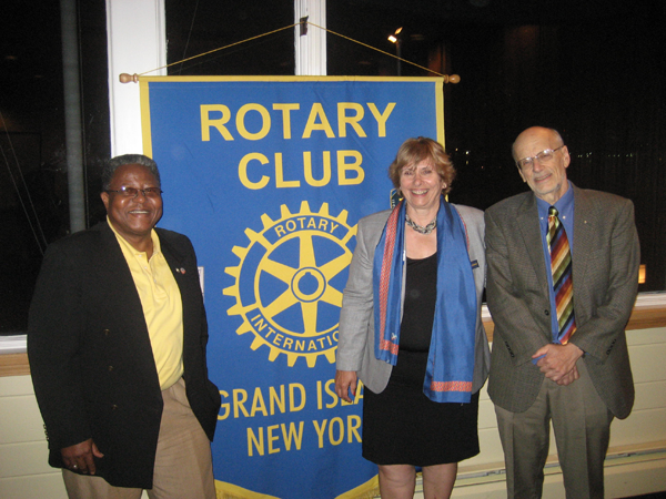 Grand Island Rotary Club member Dick Earne, right, welcomed Rotary District Gov. Marlee Diehl to a club meeting Sept. 14. Also on hand for the meeting was John Cooper, left, past president of the Niagara Falls Rotary Club and assistant governor of Rotary District 7090.