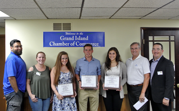 The Grand Island Chamber of Commerce presented checks to its 2015-16 Youth Ambassadors and 2016 scholarship winner. Pictured, from left: Fahim Mojawalla, GI Chamber 2nd vice president; Dana Carver, GI Chamber director; MaryElisabeth Rustowicz, 2015-16 Youth Ambassador; Tom Stedman, 2015-16 Youth Ambassador; Marissa Freedman, 2016 scholarship winner; Jim Sharpe, GI Chamber 1st vice president; and Eric Fiebelkorn, GI Chamber president.