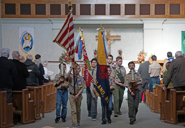 Scouts assisted at the service. (Photo by Larry Austin)