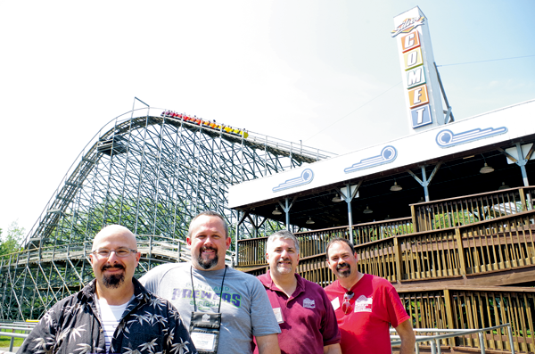 David Lipnicky, Jerry Willard, Steve Berto and Tim Baldwin of American Coaster Enthusiasts visited Martin's Fantasy Island for an ACE conference and rides on the Silver Comet. (Photo by Larry Austin)