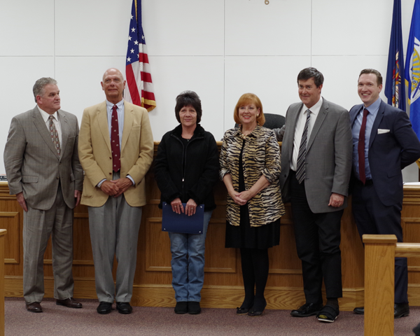 Pictured, from left, at the certificate presentation are councilmen Chris Aronica and Ray Billica, Violanti, council members Beverly Kinney and Mike Madigan and Town Supervisor Nathan McMurray. (Photo by Larry Austin)