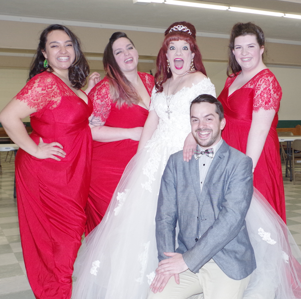 Donna (Jennel Pruneda), Connie (Emily Pici), Tina Vitale (Maria Droz), Joey (Corey Bieber) and Marina (Caitlyn Stepphenson) will be on hand next weekend for `Tony n' Tina's Wedding` at the DoubleTree by Hilton. (Photo by Larry Austin)
