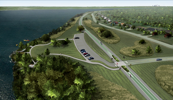 The New York State Office of Parks, Recreation and Historic Preservation provided a rendering of Option 3 for the West River Connector Trail at a work session on Wednesday.