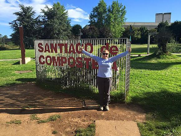 Zdenka Gast of Grand Island is thrilled to reach her destination, Santiago de Compostela, Spain, after a 500-mile walk that took 29 days.