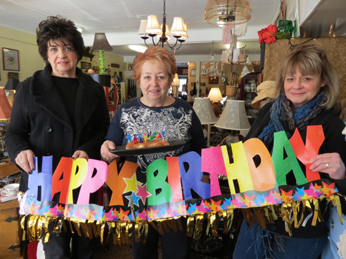 Pictured, from left, are Antique to Chic co-op co-owners Lucy Weller, Jackie Carbone and Gloria Costrino.