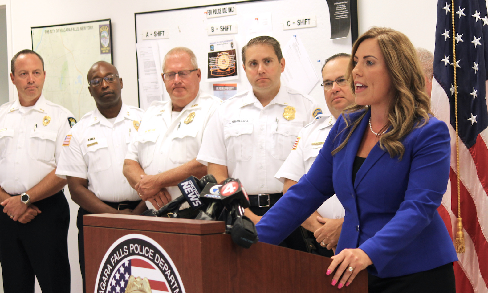 As local police chiefs and other senior department leaders look on, Niagara County District Attorney Caroline A. Wojtaszek announced every police department in the county has signed a memorandum of understanding with her office to mutually share crime data, statistics and information with the Niagara Intelligence and Crime Analysis Center.