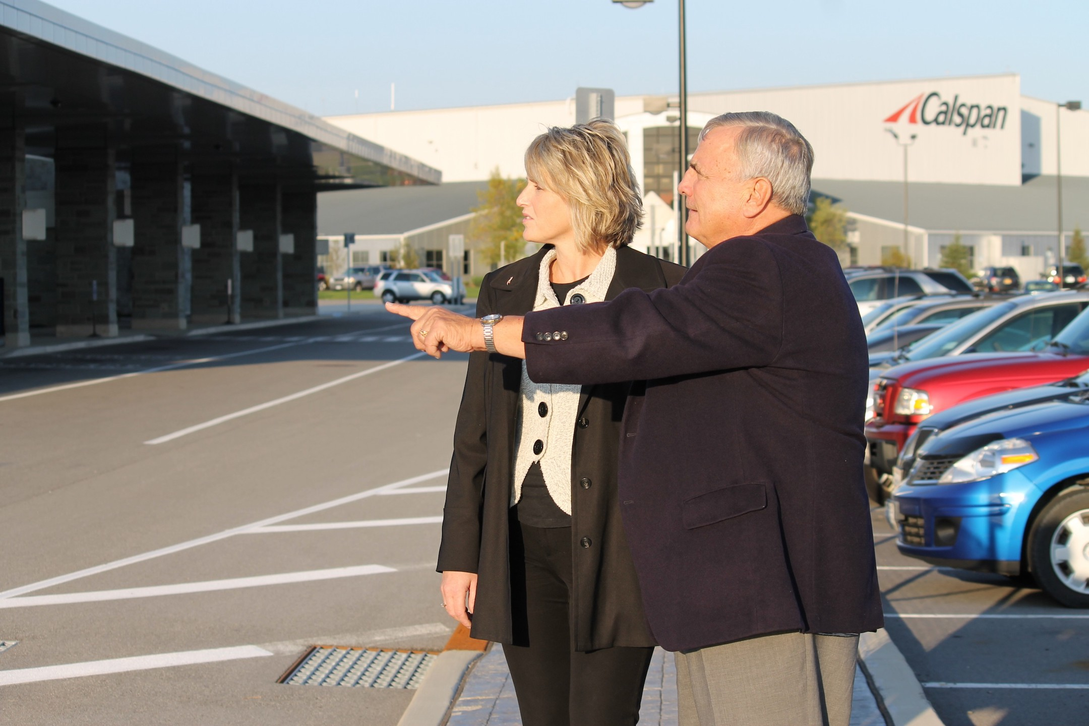 Niagara County Legislature Economic Development Committee Chairwoman Kathryn L. Lance and Niagara County Industrial Development Agency board member William L. Ross discuss development opportunities at the Niagara County International Airport in this undated file photo.