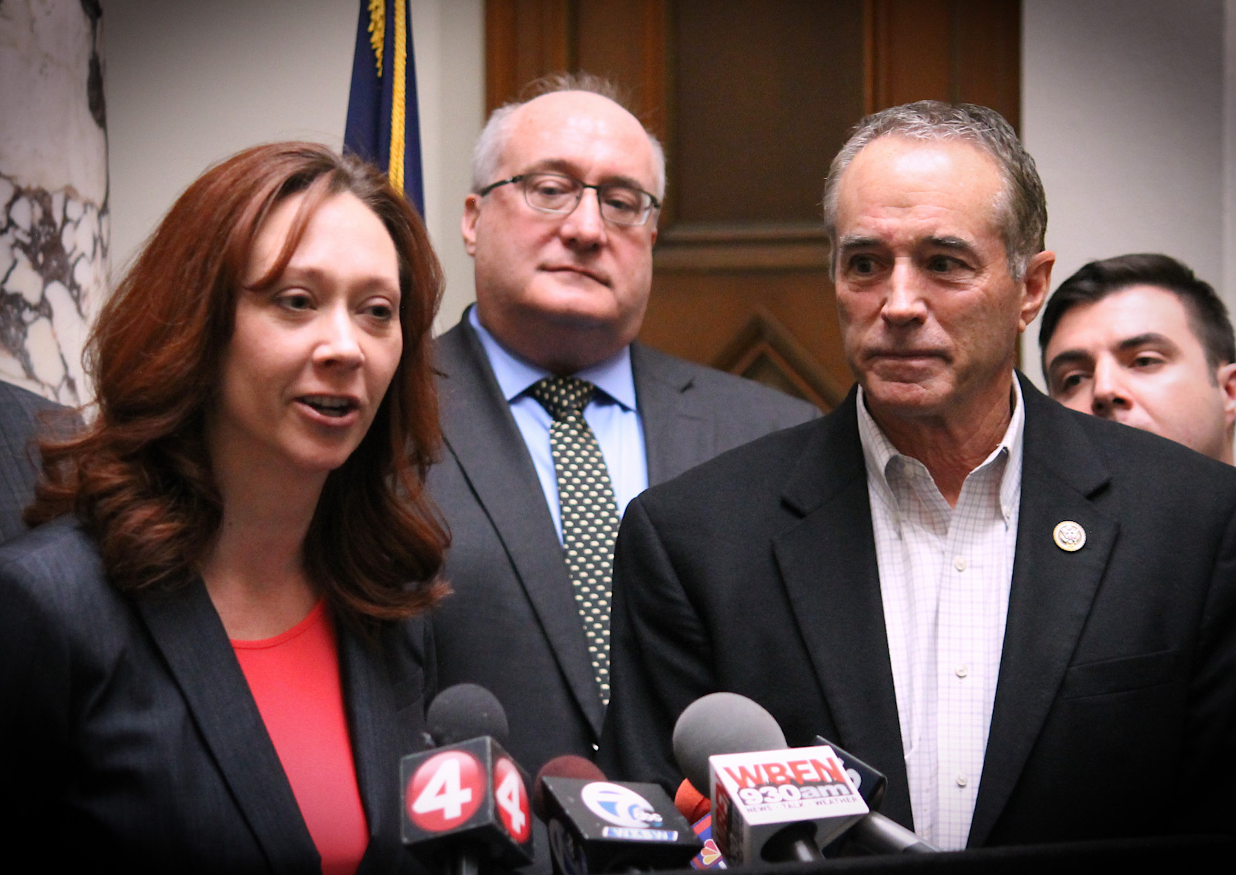Legislator Becky Wydysh speaks at a press conference with U.S. Rep. Chris Collins, R-Clarence, last month.