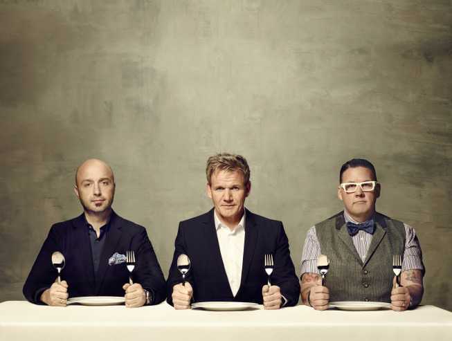`MasterChef` returns for an exciting fifth season Monday, May 26, on FOX. `MasterChef` gives talented home cooks from all walks of life the chance to showcase their skills, knowledge and passion in front of the show's esteemed judges: Joe Bastianich (left), Gordon Ramsay and Graham Elliot. (FOX photo by Justin Stephens)