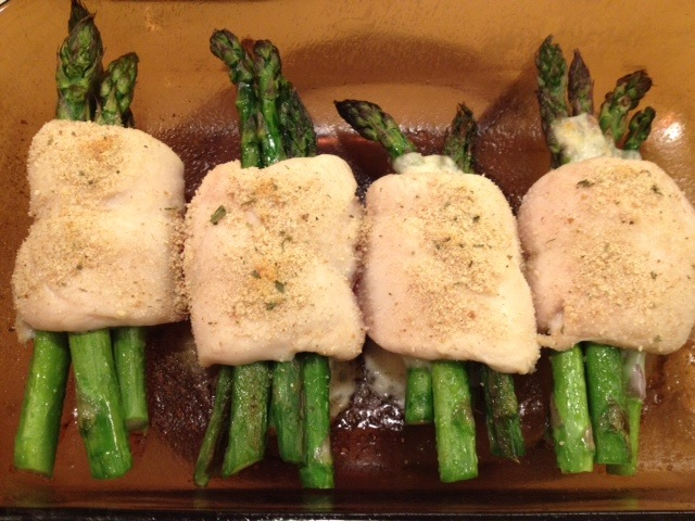 Chicken in asparagus.