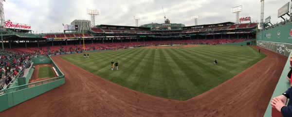 The view Niagara SMA students were able to capture from the outfield at Fenway Park.