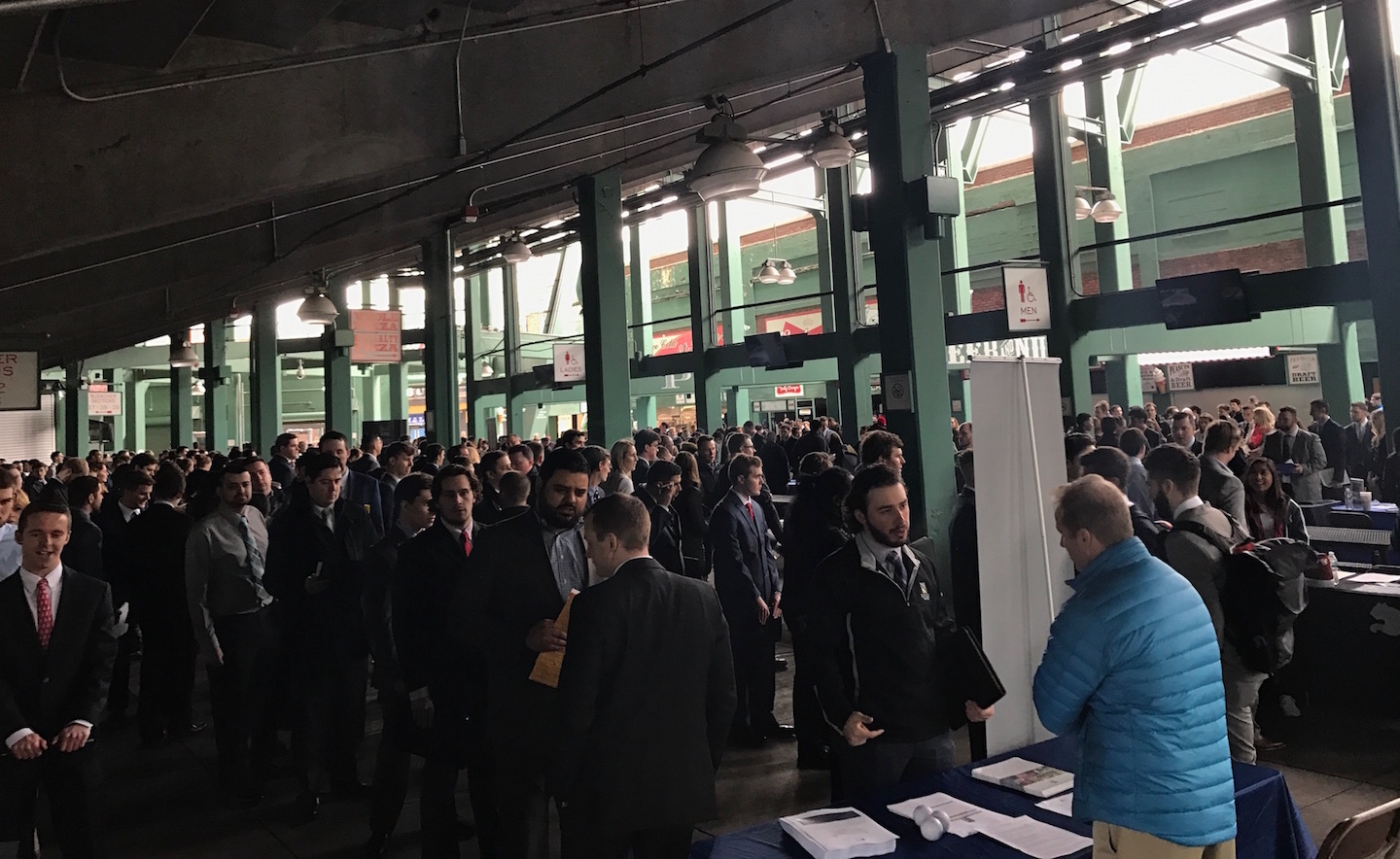 The scene in the right field concourse of Fenway during the career fair.