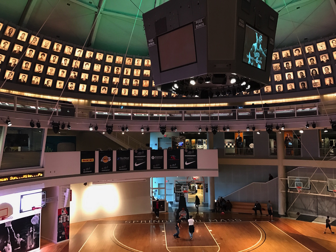 The second floor view of the basketball court at the Basketball Hall of Fame.