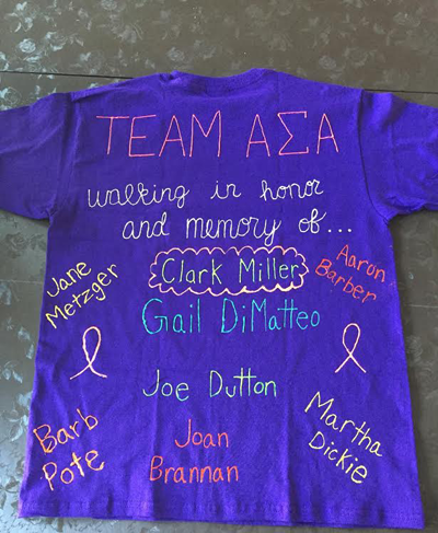 Shown is an example of the shirt the Alpha Sigma Alpha girls made and wore.