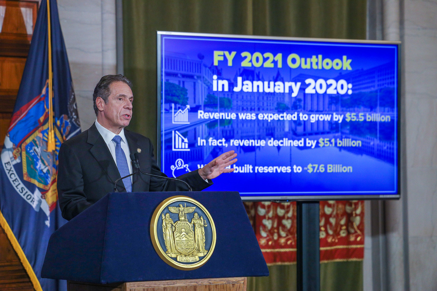 Gov. Andrew Cuomo presents his fiscal year 2022 executive budget Tuesday in Albany. (Photo by Mike Groll/Office of Gov. Andrew M. Cuomo)