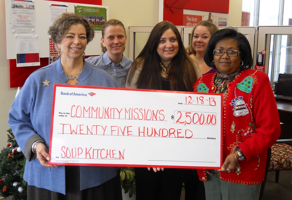 The Community Soup Kitchen at Community Missions received funds from the Bank of America Foundation. Niagara Falls Pine Avenue Branch Manager Ardell Dolson presented a check to Community Missions' Executive Director Robyn L. Krueger.
