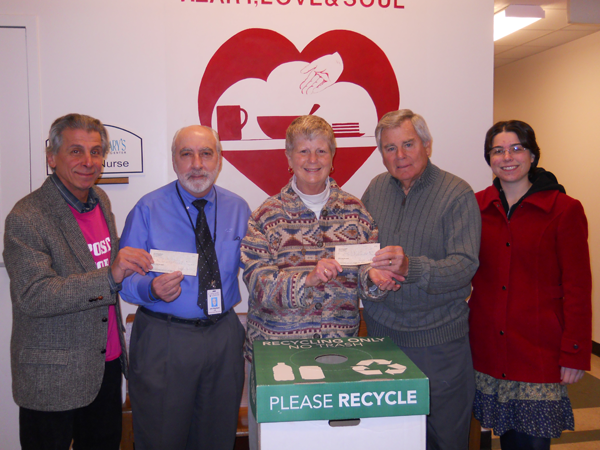 Pictured, from left, are Angelo Sarkees, `Deposits for Food`; Joe Sbarbati, associate director at Community Missions; Sister Beth Brosmer, executive director of Heart, Love and Soul; Fran Giles, vice president of community relations at Modern Corp.; and Julie Whittemore, AmeriCorps VISTA member serving at Community Missions.