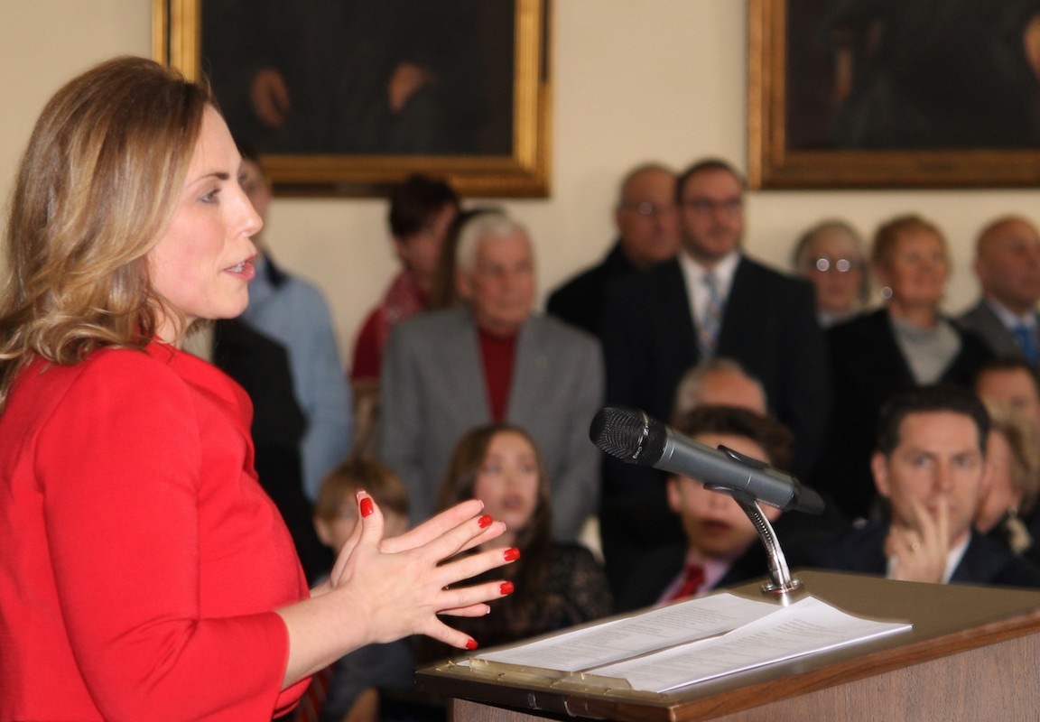 New Niagara County D.A. Caroline Wojtaszek outlines her vision for the Niagara County District Attorney's Office during her Dec. 31 inauguration as a crowd of 150 well-wishers looks on.