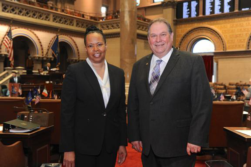 Assemblyman John Ceretto is pictured in the Assembly Chamber with Renae Kimble, program coordinator for the Cancer Services Program of Niagara County.