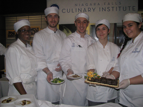Alana Nisbeth of Rochester, Joel Singleton of Parkersburg, Alex Dispense of Brant, Rachel Miller of Rochester and Renee Kopona of West Seneca were among those on hand from the Niagara Falls Culinary Institute. (photos by Susan Mikula Campbell)