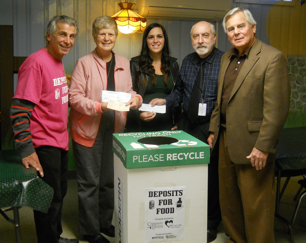 Pictured, from left: Angelo Sarkees, Deposits for Food; Sister Beth Brosmer, executive director of Heart, Love and Soul; Joleigh Washuta, community relations director, Modern Corporation; Joe Sbarbati, associate director, Community Missions; Francis Giles, VP of community relations, Modern Corporation.