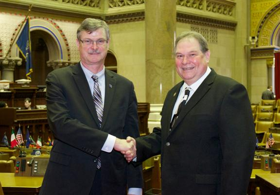 Assemblyman John Ceretto, right, was joined Wednesday by Niagara Falls Mayor Paul Dyster for the 2015 State of the State/executive budget presentation. Ceretto and Dyster took the opportunity to discuss ways in which the state can partner with Niagara Falls to encourage economic development and job creation in the city.