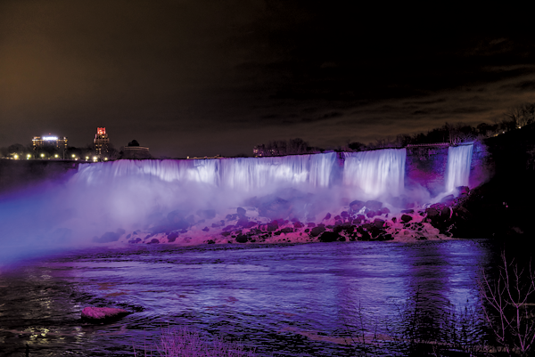 Shown are views of Niagara Falls lit up by the new LED technology. (Images courtesy of The Niagara Parks Commission)
