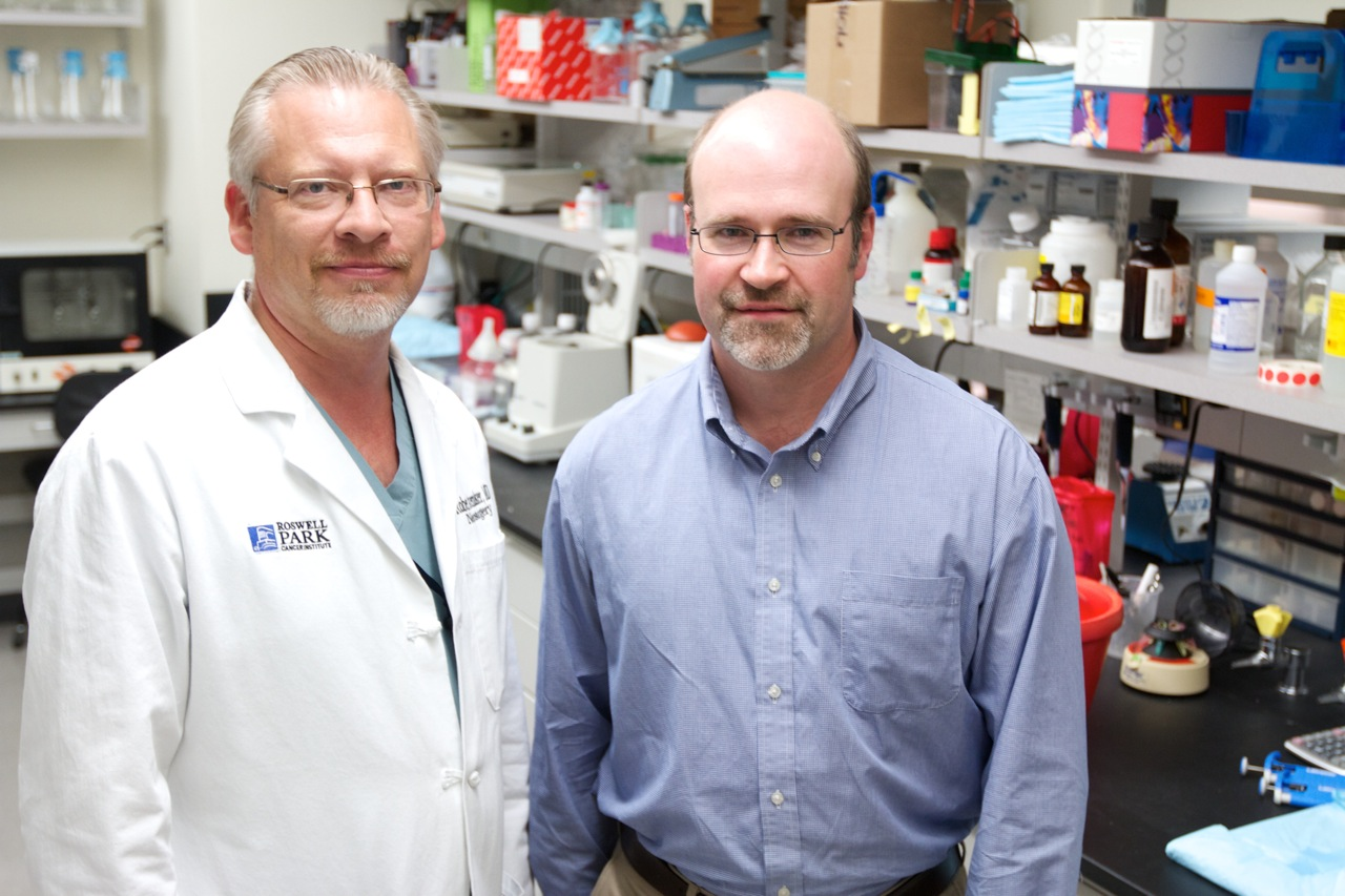 Robert Fenstermaker, M.D., left, and Michael Ciesielski, Ph.D.