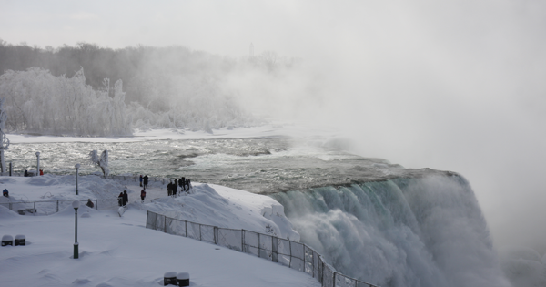 The frozen Niagara Falls. Click for a larger image. (Photos by Michelle Blackley, Niagara Tourism and Convention Corp. communications and community relations manager)