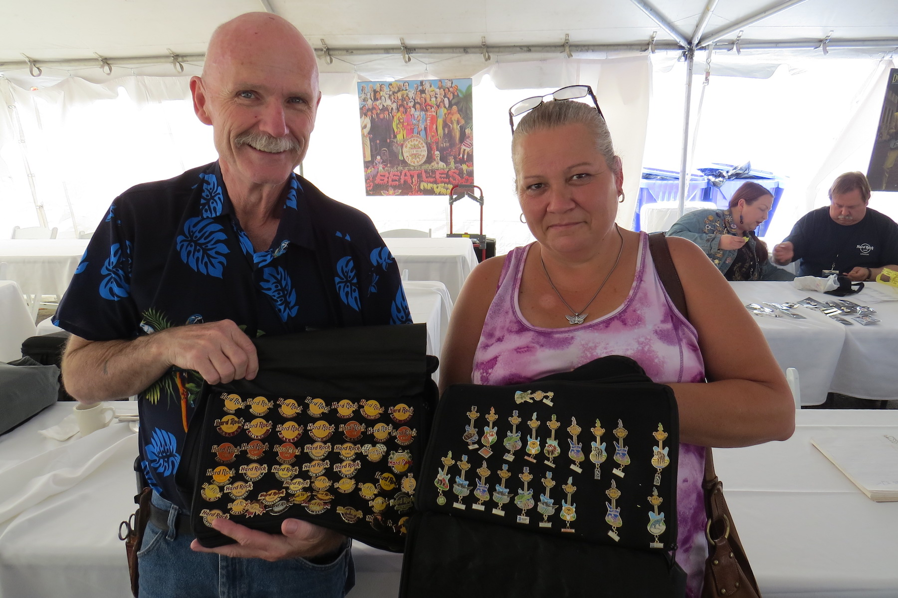 John and Lisa McKee of Georgetown, Ontario, brought six binders full of Hard Rock Cafe pins to trade with other collectors. While that might seem like a lot of merchandise, John said they have 20,000 (!) pins in their permanent collection.
