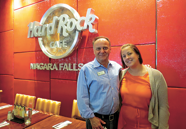 Hard Rock Cafe, Niagara Falls USA, General Manger Bob Bloom and Sales and Marketing Manager Claire Seveno.