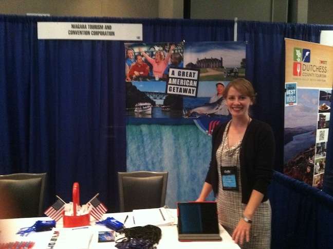 Michelle Blackley is shown at the Travel Media Showcase in Rockford, Ill., where she met with travel writers. Niagara USA will host the TMS Family Travel Conference in September.