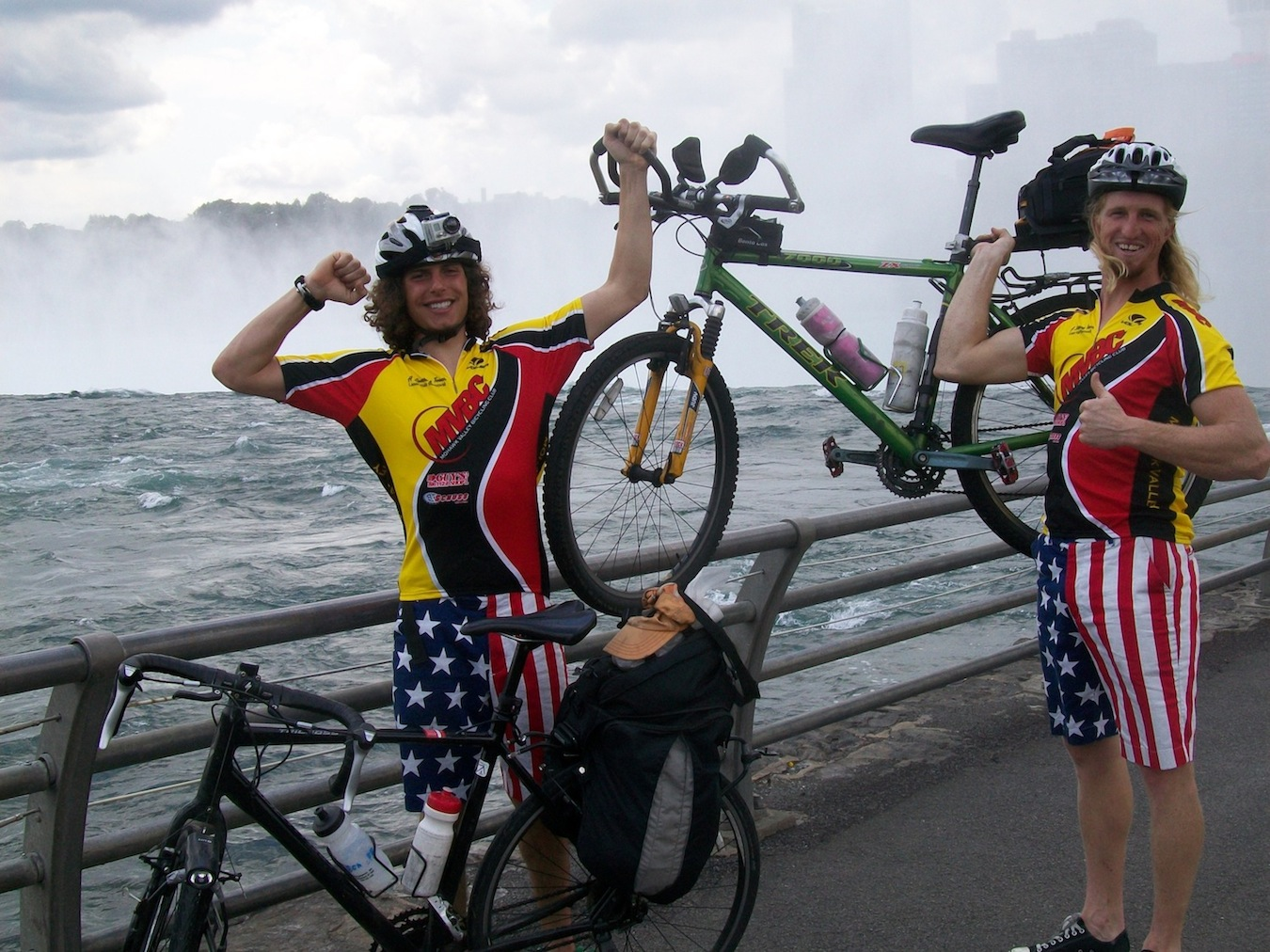 `Mike & Nate Bike the States` - including Niagara Falls. Surprisingly, they did not wear their trademark uniforms for these pictures.