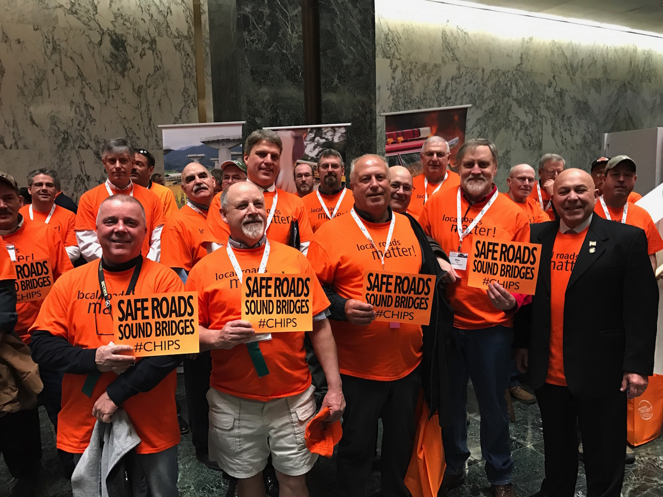 Assemblyman Angelo J. Morinello joined a group of highway workers from Niagara County for Wednesday's CHIPS rally at the Legislative Office Building.