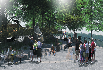 Pictured is an artist's rendering of where the Nikola Tesla statue will be situated. (Image courtesy of State Parks)